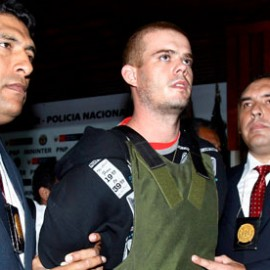 Joran Van der Sloot during a press conference at a police station in Lima, Peru