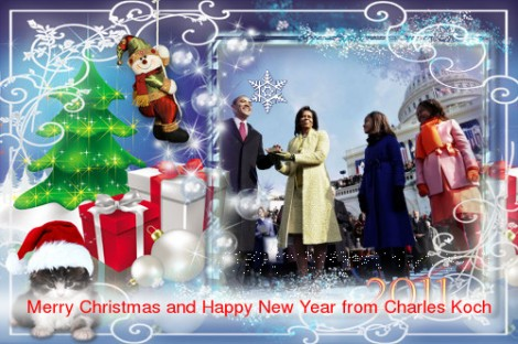 Koch brothers Christmas Card -- Obama Family on Koch Carpet