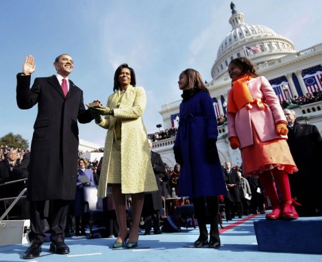Obama family on Koch carpet