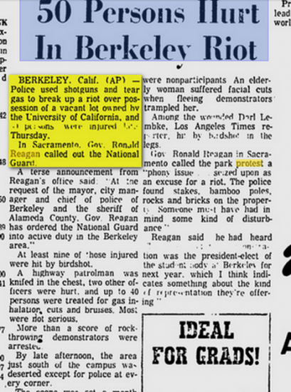 reagan 1969 riot berkeley 50 hurt2