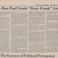 "Question To Ron Paul, Author Of This Rather Excellent 1987 Anti-Reagan Screed: What Does It Say About You That You Were Gullible Enough To Be ""Double-Crossed"" Twice, By Two Republican Presidents Using The Exact Same Libertarian-Influenced Bait-And-Switch Producing The Exact Same Results Both Times: Exploding Deficits, Massive Spending Increases, Massive Expansion Of Empire And Defense...Are You Really Just An Innocent Waif Taken Advantage Of Twice By The Exact Same Ruse, Or Are You Part Of The Ruse?"