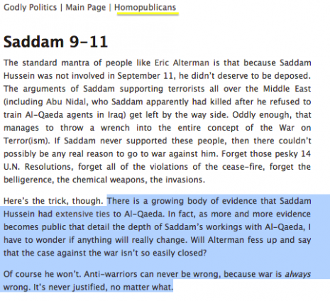 Foust Saddam 9-11 Screen Shot