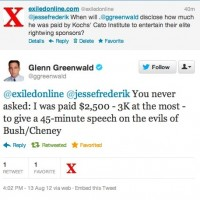 Breaking: We finally got Citizens United cheerleader Glenn Greenwald to disclose how much Kochs pay him: $4000/hour, prorated! More details to come...