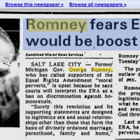 "Romney's ""Liberal"" Daddy Called Supporters Of Equal Rights Amendment ""Moral Perverts"""